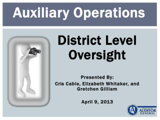 District Level Oversight Presented By:   Cris Cable, Elizabeth Whitaker, and Gretchen Gilliam April 9, 2013