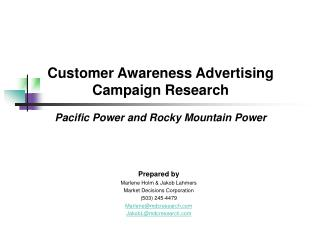 Customer Awareness Advertising  Campaign Research Pacific Power and Rocky Mountain Power