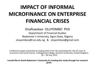 IMPACT OF INFORMAL MICROFINANCE ON ENTERPRISE FINANCIAL CRISES