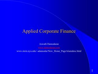 Applied Corporate Finance