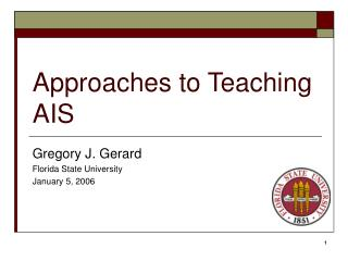 Approaches to Teaching AIS