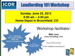 Workshop facilitator: Mike Levy (Levy Consulting, LLC) Phone: 970-412-6742 E-mail: mike@levy-consulting.com