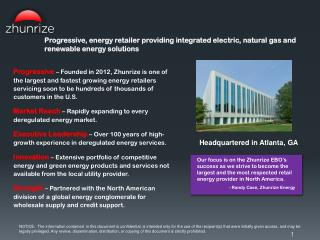 P rogressive , energy retailer  providing  integrated electric, natural  gas  and renewable energy solutions