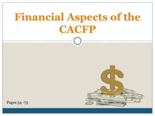 Financial Aspects of the CACFP