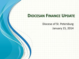 Diocesan Finance Update