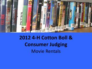 2012 4-H Cotton Boll & Consumer Judging