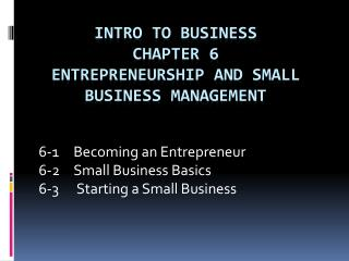 Intro to Business Chapter 6 Entrepreneurship and Small Business Management