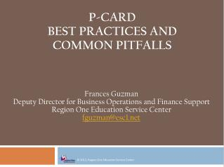 P-Card Best PRACTICES AND COMMON PITFALLS
