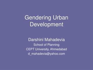 Gendering Urban Development