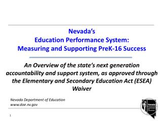 Nevada Department of Education www.doe.nv.gov