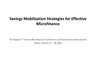 Savings Mobilization Strategies for Effective Microfinance