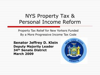 NYS  Property Tax &  Personal Income Reform