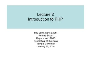 Lecture 2 Introduction to PHP