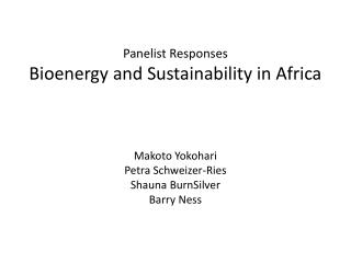 Panelist  R esponses Bioenergy and Sustainability in Africa