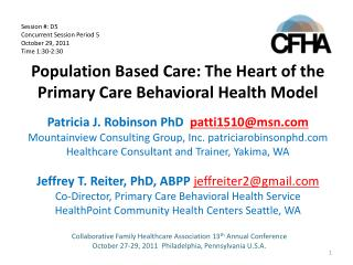 Population Based Care: The Heart of the Primary Care Behavioral Health Model