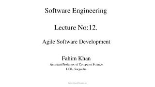 Software Engineering Lecture No:12. Lecture # 7