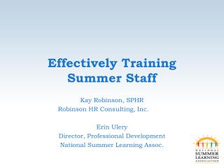 Effectively Training Summer Staff
