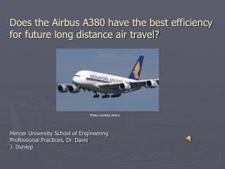 Does the Airbus A380 have the best efficiency for future long distance air travel?