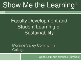 Faculty Development and Student Learning of Sustainability