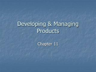 Developing & Managing Products