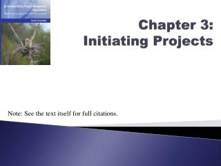 Chapter 3: Initiating Projects