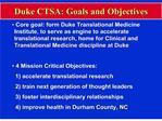 duke ctsa: goals and objectives