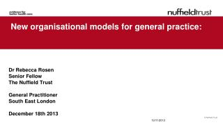 New organisational models for general practice: