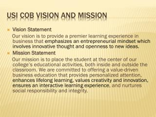 USI  CoB  Vision and Mission