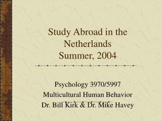 Study Abroad in the Netherlands Summer, 2004