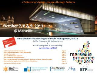 Euro Mediterranean Dialogue of Public Management ,  MED 6 Call for Papers and Call for Experiences & Call to Participat