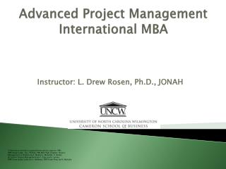 Advanced Project Management International MBA