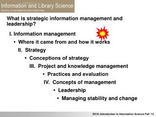 What is strategic information management and leadership?