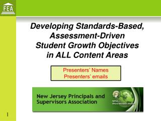 Developing Standards-Based, Assessment-Driven Student Growth Objectives  in ALL Content Areas