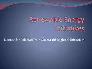 Renewable Energy Initiatives