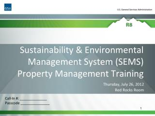 Sustainability & Environmental Management System (SEMS) Property Management Training