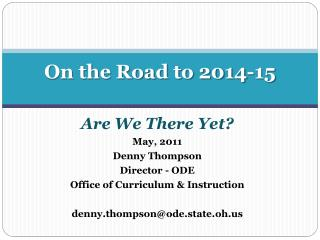 On the Road to 2014-15