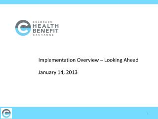 Implementation Overview – Looking Ahead	 January 14, 2013