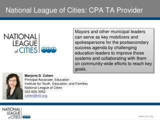 National League of Cities: CPA TA Provider