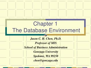 Chapter 1  The Database Environment