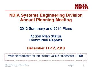 NDIA Systems Engineering Division Annual Planning Meeting 2013 Summary and 2014 Plans Action Plan Status Committee Repor