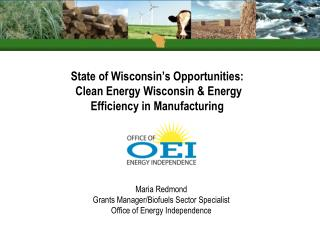 State of Wisconsin's Opportunities:  Clean Energy Wisconsin & Energy  Efficiency in Manufacturing