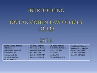 Introducing Dotan  Cohen Law  Offices  DCLO 2011