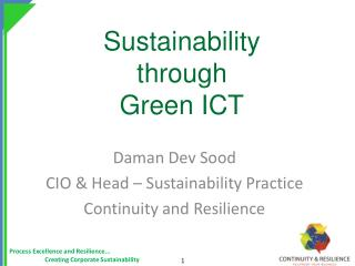 Sustainability  through  Green ICT