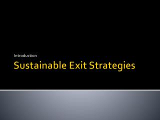 Sustainable  Exit Strategies