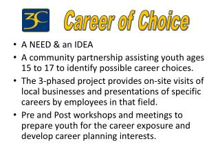 A NEED  & an IDEA A community partnership assisting youth ages 15 to 17 to identify possible career choices.