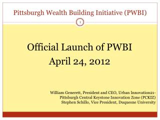 Pittsburgh Wealth Building Initiative (PWBI)