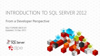 Introduction to SQL  Server 2012