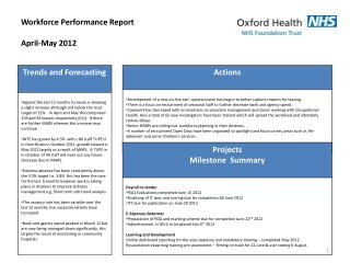 Workforce Performance Report April-May 2012