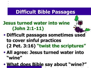 Difficult Bible Passages