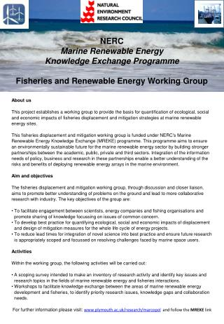 NERC  Marine  Renewable Energy  Knowledge  Exchange  Programme Fisheries  and Renewable Energy Working  G roup